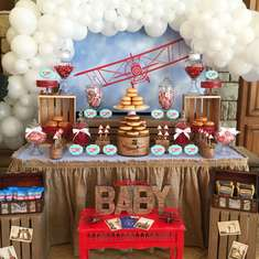 Fly The World Baby Shower - Vintage Airplane