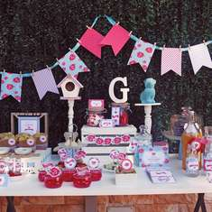 Shabby Chic Birthday in Aqua and Red - Floral