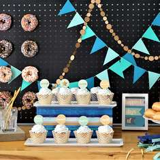 Blue Ombre Birthday Party  - Donuts