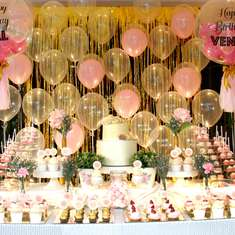 Pink and Gold Princess Dessert Bar - Pink & Gold Themed