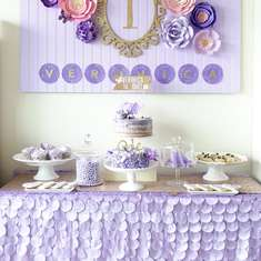 Elegant Spring Bloom First Birthday Party - Purple + Spring Bloom