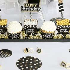Black and Gold Adult Birthday Party - Gold