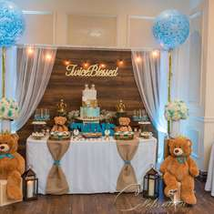 Twins Baby Shower  - Twice Blessed rustic Teddy bear
