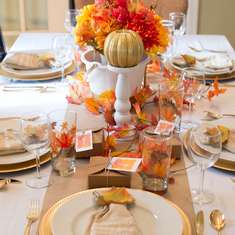 Festive Fall Tablescape - Thanksgiving Table