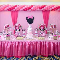Chloe is 3 Minnie Mouse birthday party - Pink Minnie Mouse