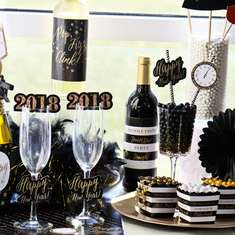 Pop! Fizz! Clink! 2018 New Year's Eve Party - Black, White & Gold Glam New Years Eve