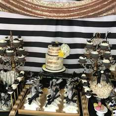 Elegant Graduation Party Dessert Table - Black White and Gold Graduation