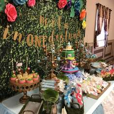 Alice in ONEderland First Birthday Party Dessert Table - Alice in Wonderland