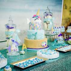 Ava's Narwhal Birthday Party Dessert Table - Under the Sea