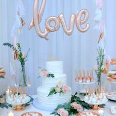 "Happily Ever Azie Engagement Party - Rose Gold and Blush ""Love"" Engagement Party"