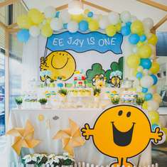 Mr Happy 1st birthday party - Mr Happy
