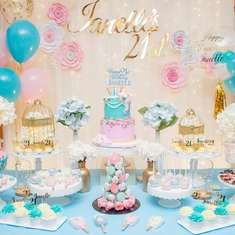 21st Birthday Party - Blue, Pink & Gold Theme