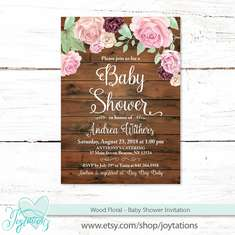 Wood Floral Baby Shower  - Rustic