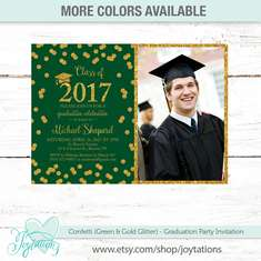 Confetti Graduation Party - Confetti Gold Glitter and Green
