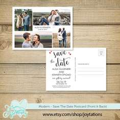 Save The Date Card - Modern Hearts