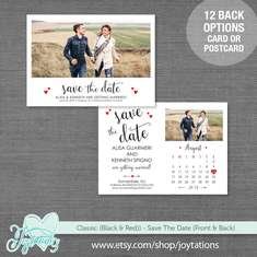 Save The Date Card - Script Hearts