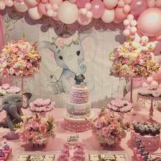 Elegant Baby Elephant Shower  - Pink Elephant