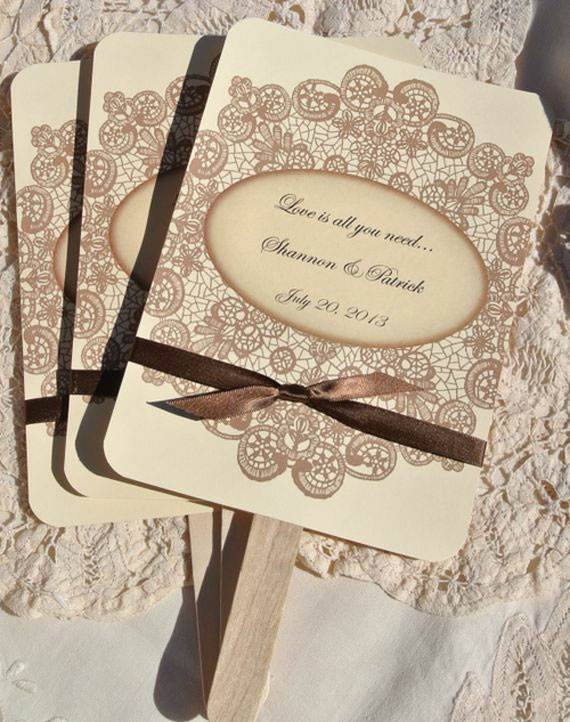 Personalized Wedding Favor Fans Vintage Lace W Ribbon By Accent The Party