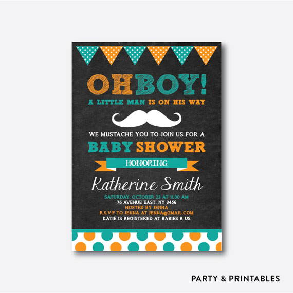 mustache polkadot chalkboard baby shower invitation by party and