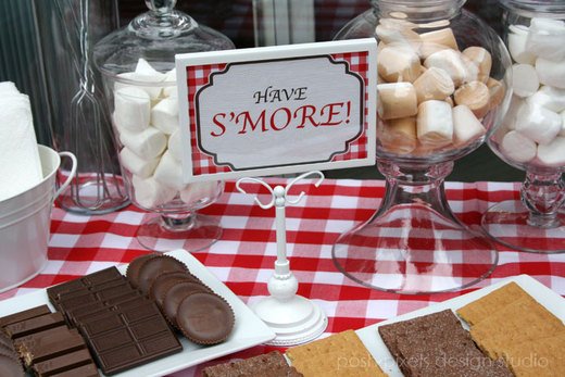 Rustic / Birthday / Party Photo: Rustic Birthday S'more Buffet Station