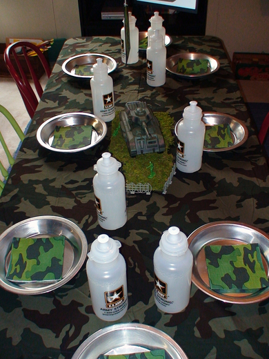 Army party birthday party ideas photo 7 of 8 catch my for Army theme party decoration ideas