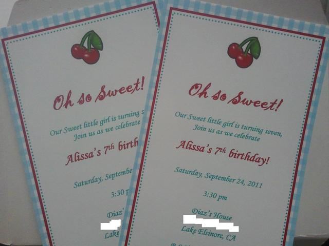Cherry Themed / Birthday / Invitation: The Invitation