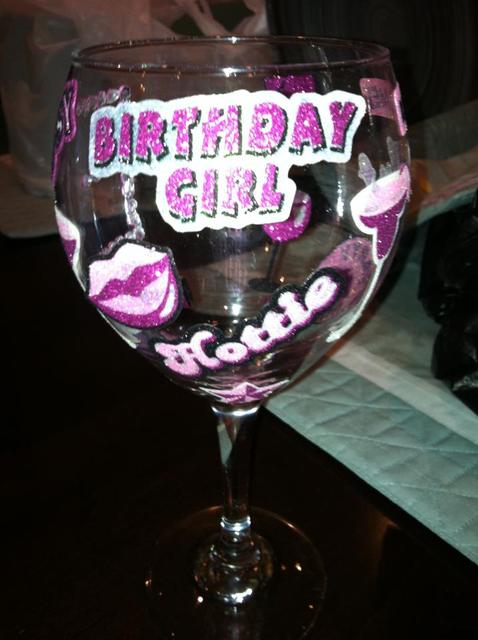 Casino / Birthday / Food & Drink: Custom Made Wine Glass