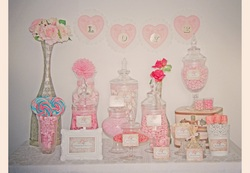 Pink Vintage Bridal Shower Buffet - Vintage/ Shabby Chic