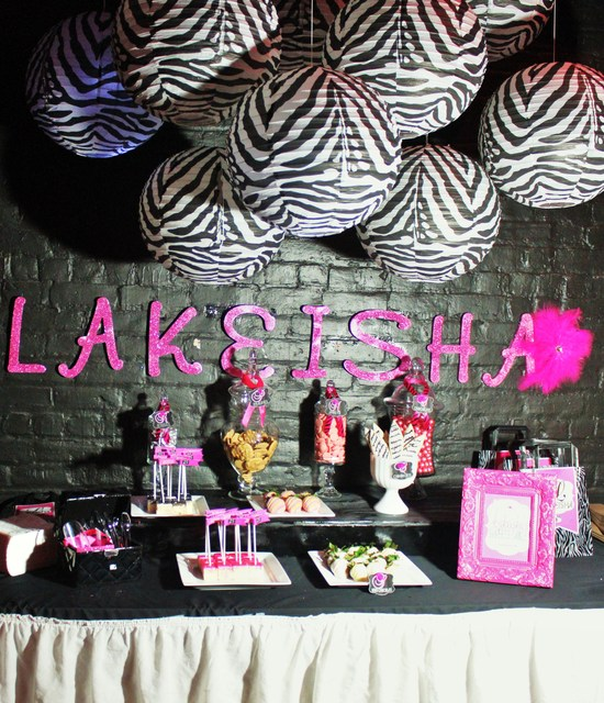 Zebra hot pink birthday party ideas photo 1 of 24 for Animal print decoration party