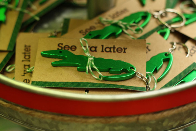 Swamp, alligator / Birthday / Party Favors: Adult bottle opener favors