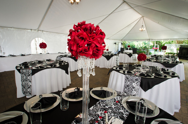 Black, White, Red Damask / Wedding / Decorations: Guest tables