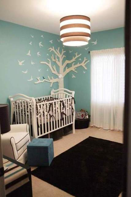 Birds/Nest / Baby Shower/Sip & See / Venue: They used the baby room as the inspiration for the shower